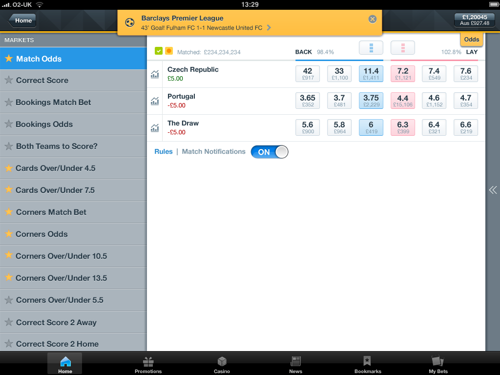 betfair exchange rate